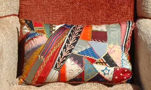 Pillow made from antique crazy quilt